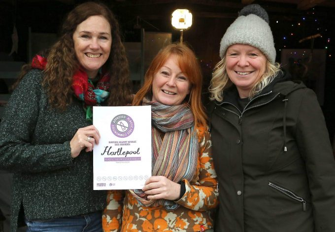 Julia Chard, Cheryl Arnold and Diane Watson from Plastic Free Hartlepool with their approved community status.
